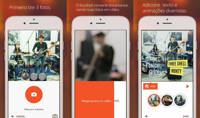 Transforme fotos em vídeos com mensagens usando o Nutshell (Foto: Divulgação/AppStore)