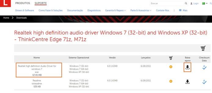 Lenovo oferece drivers da Realtek para seus usuários baixarem (Foto: Reprodução/Barbara Mannara)