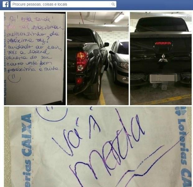 """Mulher recebe """"vá à merda"""" como resposta sobre estacionamento irregular (Foto: Facebook/Reprodução)"""