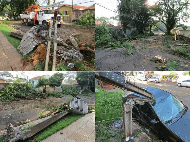 Temporal em Maringá provocou estragos na cidade (Foto: Adilson Honório/RPC TV)