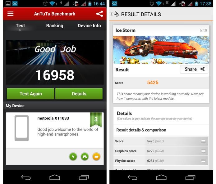 Resultados obtidos pelo Moto G nos aplicativo de benchmark AnTuTu e 3DMark (Foto: Reprodução)