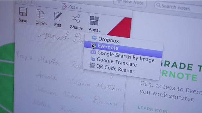 Conteúdo escaneado pode ser compartilhado com outros apps, como Evernote (Foto: Reprodução/Indiegogo)