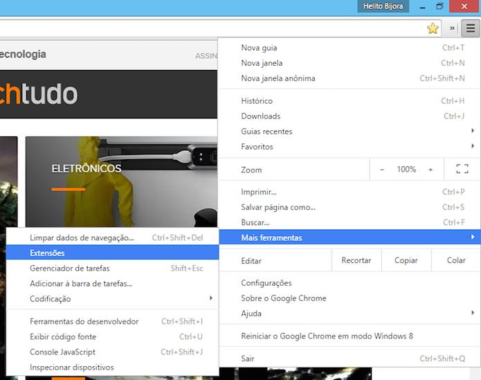 Acessando as extensões instaladas no Chrome (Foto: Reprodução/Helito Bijora)