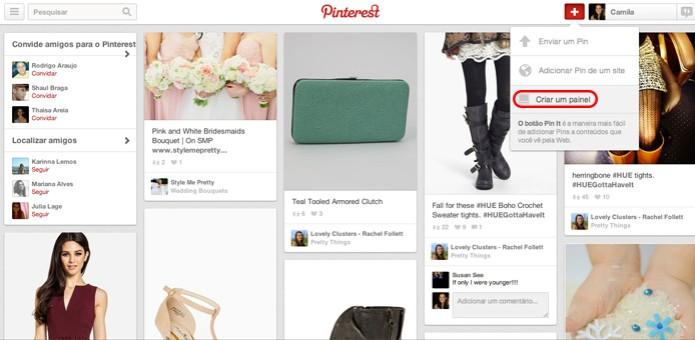 """Encontre a opção """"criar um painel"""" no canto superior direito (Foto: Reprodução/ Pinterest) (Foto: Encontre a opção """"criar um painel"""" no canto superior direito (Foto: Reprodução/ Pinterest))"""