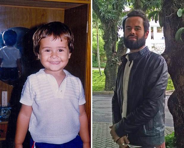 Compare imagem de Marcelo Jeneci na infância com seu visual atual (Foto: Arquivo Pessoal / Carolina Berger / Gshow)