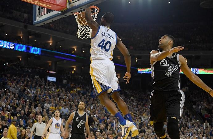 Harrison Barnes Warriors x Spurs NBA (Foto: Getty)