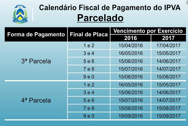 Calendário de pagamento parelado do IPVA (Foto: Reprodução)