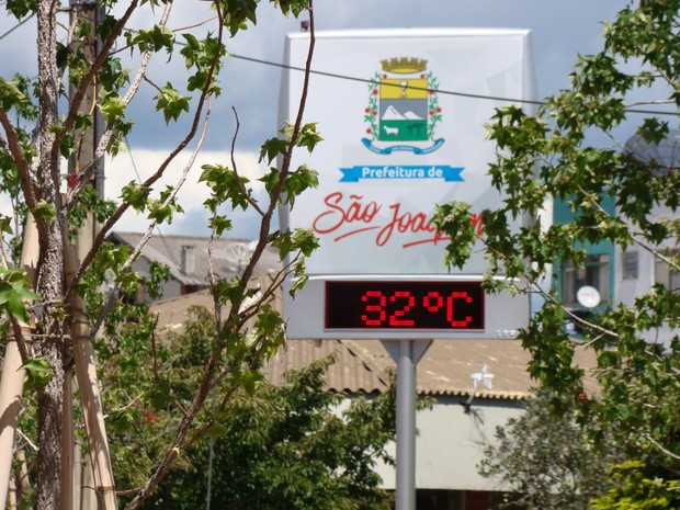 Termômetros de rua marcaram 32°C na tarde desta segunda (20) em São Joaquim (Foto: Wagner Urbano/OnJack)
