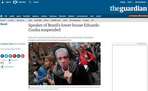 O jornal inglês 'The Guardian' noticou o afastamento de Cunha, chamado de 'poderoso rival de Dilma Rousseff' (Foto: Reprodução/The Guardian)
