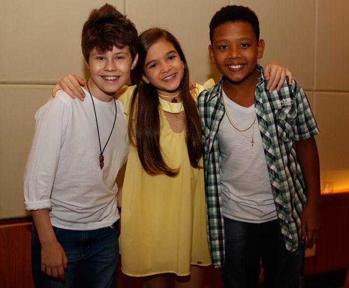 A criançada da trama: Kadu, Mel e João! (Foto: Ellen Soares/Gshow)