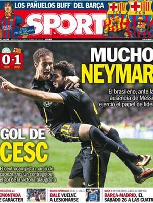 """capa do jornal """"Sport"""" elogiando Neymar (Foto: Reprodução )"""