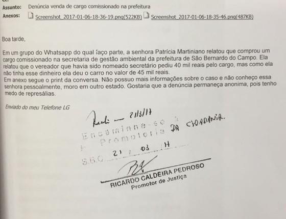 Denúncia anônima feita ao MPSP (Foto: Reprodução/Revista Época)