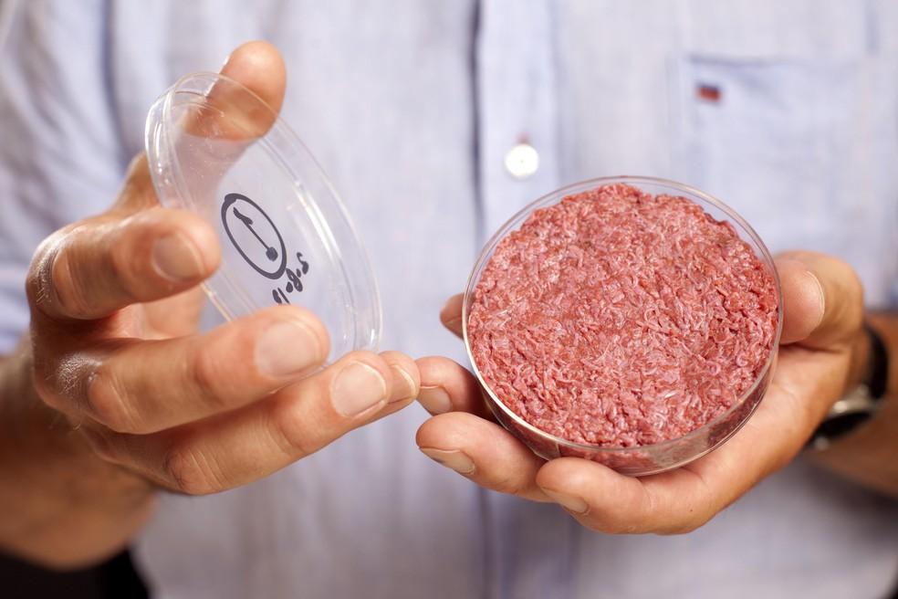 Carne de hambúrguer desenvolvida no laboratório da Universidade de Maastricht, na Holanda (Foto: Maastricht University)