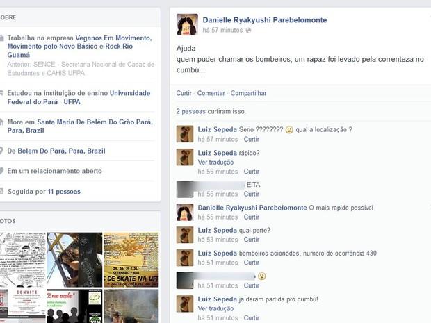 Jovem pediu ajuda pelas redes sociais (Foto: Reprodução / Facebook)