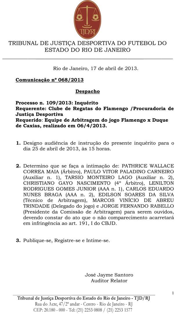 Documento Flamengo TJD (Foto: Divulgação)