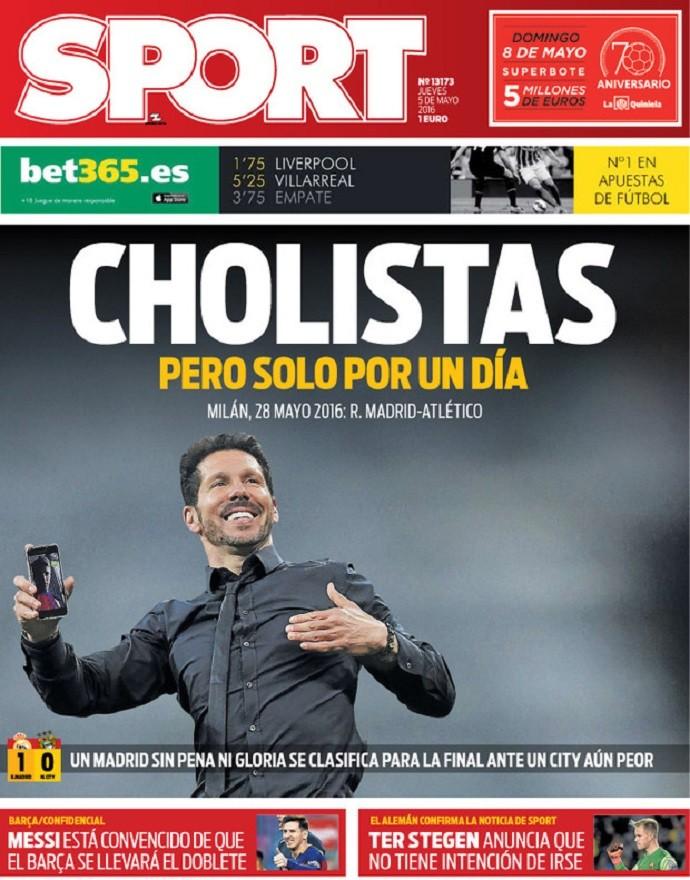 """BLOG: Jornal catalão declara torcida pelo Atlético na final: """"Cholistas, mas só por um dia"""""""