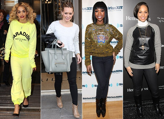 [MODA] Moletom de luxo - Rita Ora, Hilary Duff, Brandy e Alicia Keys (Foto: Agência Getty Images)