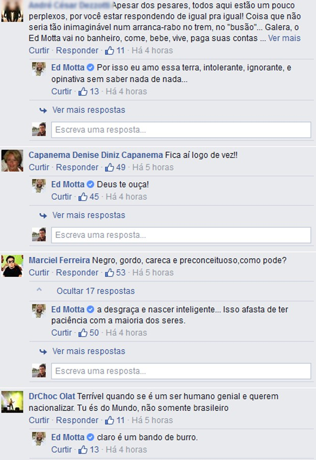 Ed Motta responde a comentário em sua página no Facebook (Foto: Reprodução / Facebook)