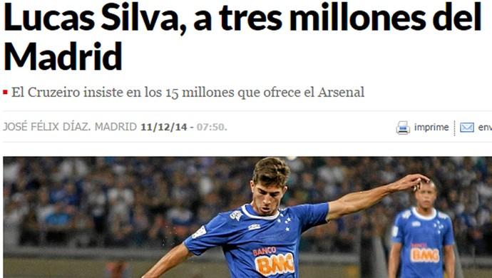 Arsenal, da Inglaterra, oferece mais que Real Madrid por Lucas Silva, do Cruzeiro, diz diário Marca, da Espanha (Foto: Reprodução/Marca)