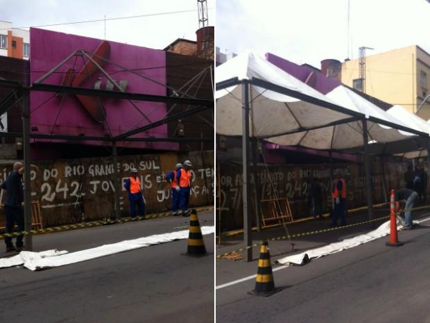 Montagem da estrutura que cobre a Kiss começou na terça-feira (Foto: Vanessa Backes/RBS TV)