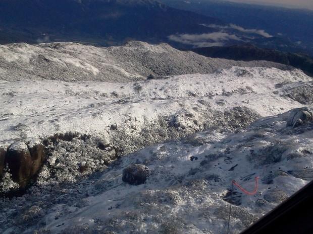 Neve não era registrada há 29 anos no Cambirela (Foto: Corpo de Bombeiros/Divulgação)