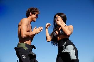 Felipe Roque e Aline Riscado competindo no Flayboard (Foto: Marcos Serra Lima / Ego)