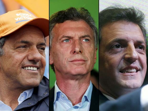 Os três principais candidatos à presidência da Argentina: Daniel Scioli, Mauricio Macri e Sergio Massa (Foto: Reuters/ Marcos Brindicci/ Enrique Marcarian)