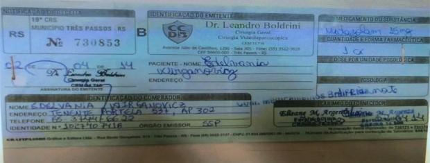 Receita de Leandro Boldrini foi usada para compra de remédio (Foto: Fábio Almeida/RBS TV)