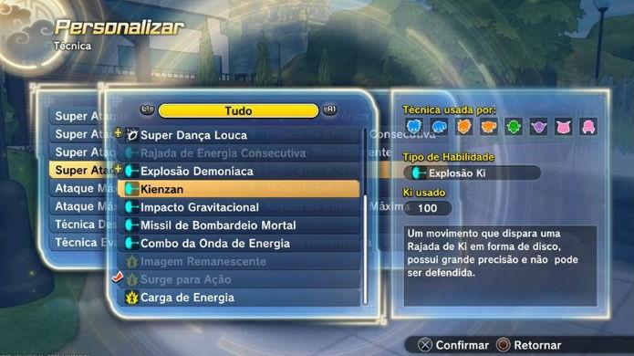 Dragon Ball Xenoverse 2: selecione e equipe um entre todos os seus golpes disponíveis (Foto: Reprodução / Thomas Schulze)