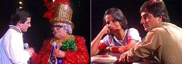 Fábio Jr. com Chacrinha e com a ex-mulher, Glória Pires, no especial Nunca Deixe de Sonhar (1982) (Foto: Globo)