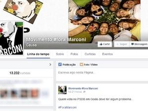 Página do Facebook publicava conteúdos considerados ofencivos a Marconi Perillo em Goiás (Foto: Reprodução/Facebook)