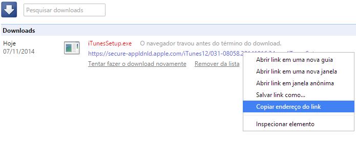 Copie o link de download no Chrome (Foto: Reprodução/Helito Bijora)