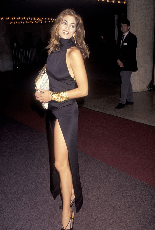 Cindy Crawford em evento em Los Angeles, 1991 (Foto: Getty Images)