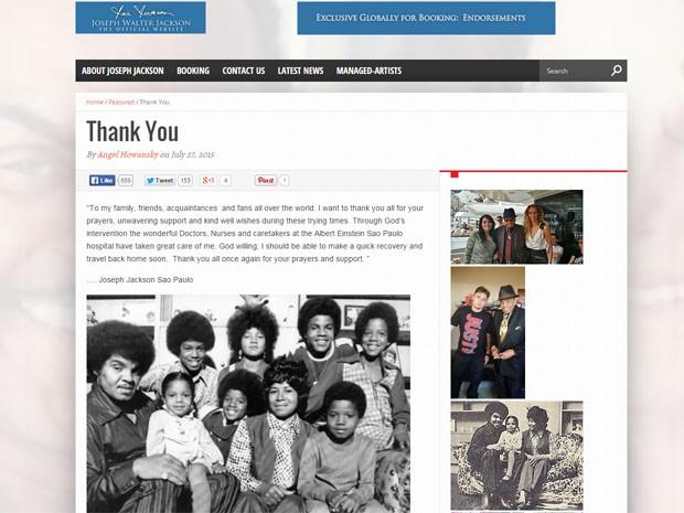 Mensagem original de Joe Jackson em seu site (Foto: Reprodução)