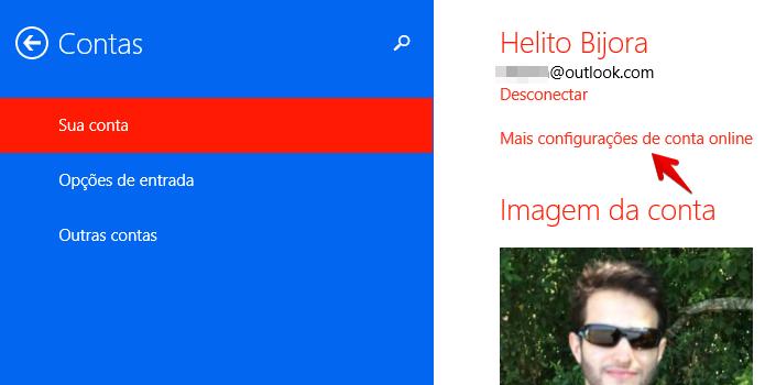 Alterando configurações da conta Microsoft (Foto: Reprodução/Helito Bijora)