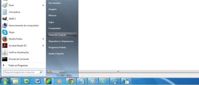 Caminho para acessar Painel de Controle do Windows (Foto: Reprodução/Raquel Freire)