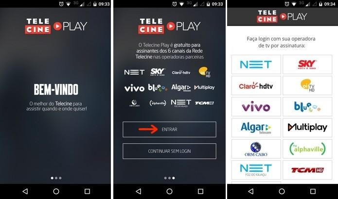 Telas iniciais do app Telecine Play (Foto: Reprodução/Raquel Freire)