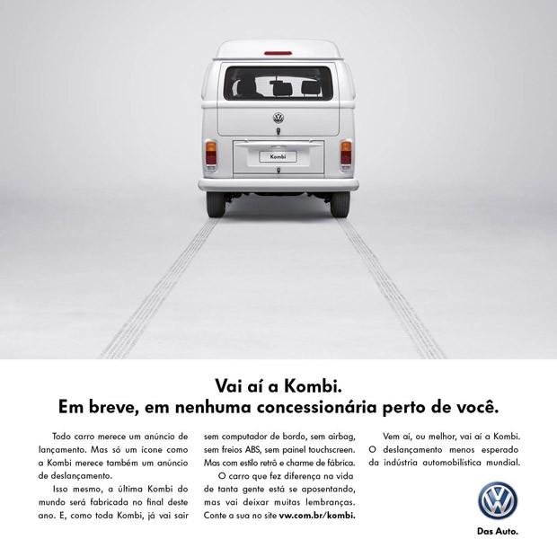 Anúncio de deslançamento da VW Kombi (Foto: Reprodução)