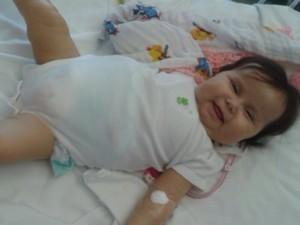 Sofia está internada desde o final de junho nos EUA (Foto: Patrícia de Lacerda/Arquivo Pessoal)