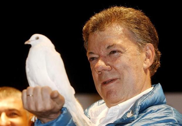 O presidente da Colômbia, Juan Manuel Santos, em imagem de 2014. Ele venceu o Nobel da Paz em 2016 (Foto: Luis Eduardo Noriega/EFE)