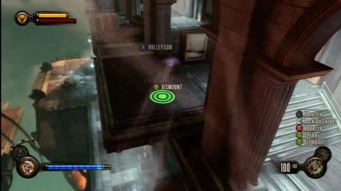 Bioshock Infinite: utilize o skyrail para chegar ao nível superior, até a porta trancada (Foto: Reprodução/IGN)