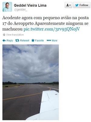 Aeronave apresentou problema mecânico ao pousar na Bahia (Foto: Reprodução/Twitter)