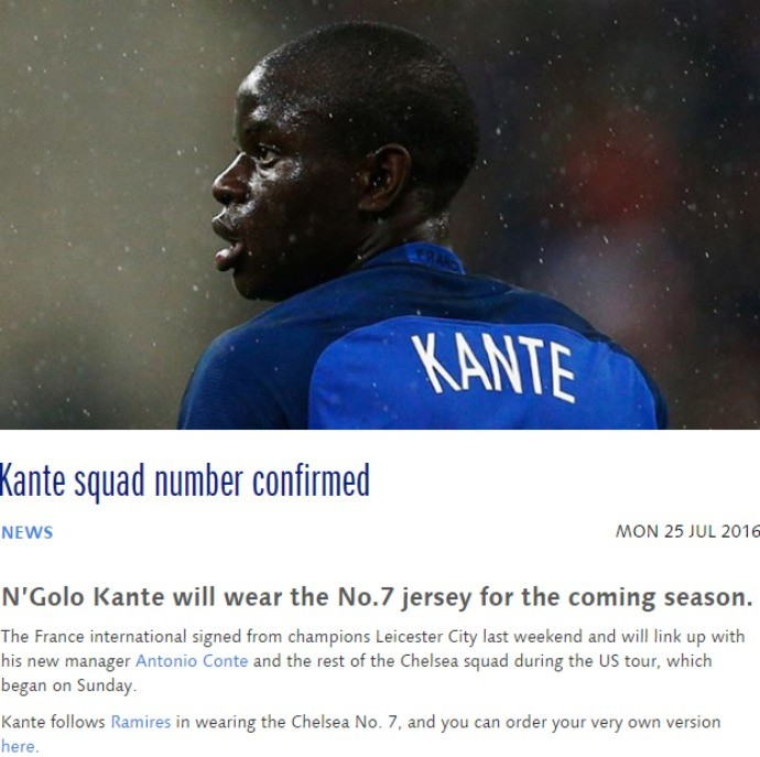 BLOG: Chelsea divulga numeração, e Kanté fica com a camisa que Ramires utilizava