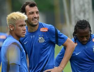 Neymar, Edu Dracena e Arouca - Santos - CT Rei Pelé (Foto: Ivan Storti/Divulgação Santos FC)