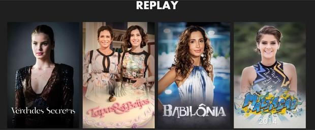 Seção de Replay do Globoplay, para assistir de novo a produções da Globo (Foto: Reprodução/Globoplay)