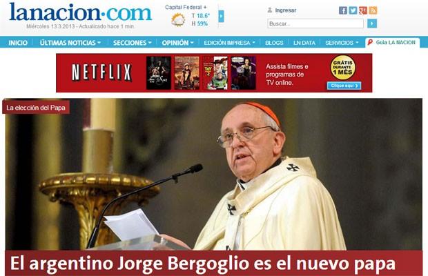 Site do jornal argentino 'La Nacion' estampa que 'Argentino Jorge Bergoglio é o novo Papa' (Foto: Reprodução/La Nacion)