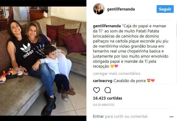 Fernanda Gentil posa com filho e namorada (Foto: Reprodução)