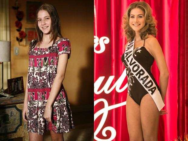 Hanna Romanazzi em 'A Favorita', em 2008 e em 'Alto Astral' em 2014 (Foto: Fabrício Mota/ Inácio Moraes/ TV Globo/ Gshow)