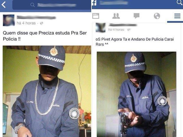 Publicações em rede social trazem suspeitos usando farda furtada de policial militar do Distrito Federal (Foto: Facebook/Reprodução)