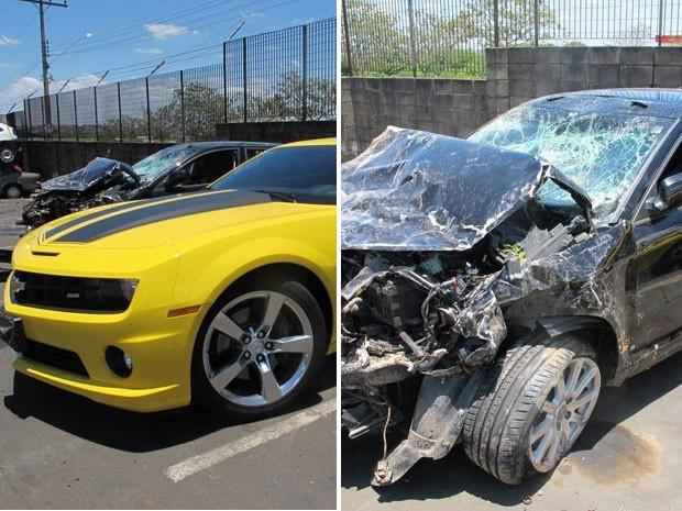 Carros envolvidos em suposto racha em Campinas, SP (Foto: Juliana Cardilli / G1)
